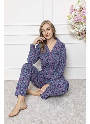 Aydoğan Kadın İnterlok Uzun Kollu Pijama Takımı Renkli